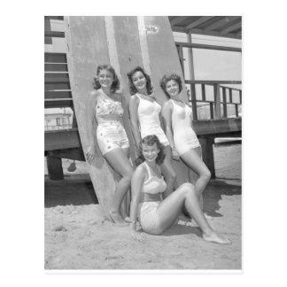 vintage surfer girls postcard