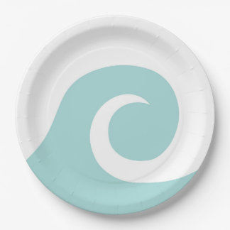 Vintage Surfer Paper Plates- Ocean Waves Plates 9 Inch Paper Plate