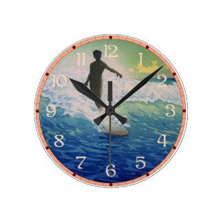Vintage Surfer Round Clock