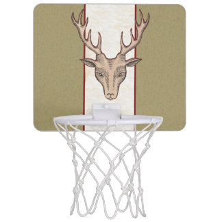 Vintage Surreal Deer Head Antlers Mini Basketball Hoop