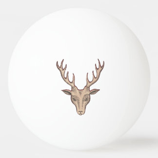 Vintage Surreal Deer Head Antlers Ping Pong Ball