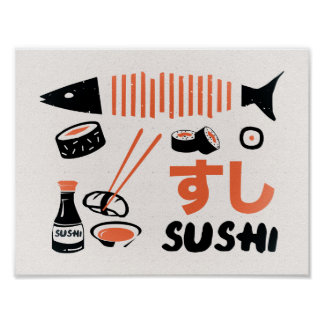 Vintage sushi kitchen sign poster