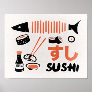 Vintage sushi poster