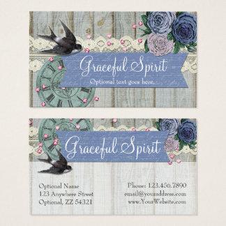 Vintage Swallow Bird Cobalt Blue Shabby Chic Craft Business Card