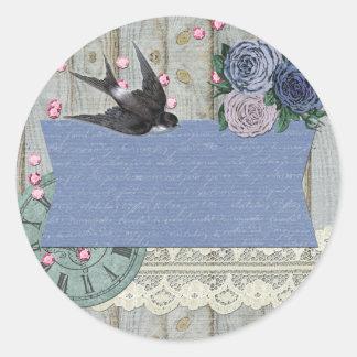 Vintage Swallow Bird Cobalt Blue Shabby Chic Craft Classic Round Sticker