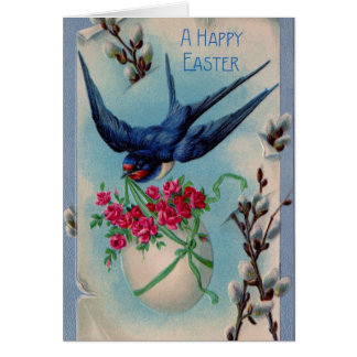 Vintage Swallow Bird Easter Greeting Card