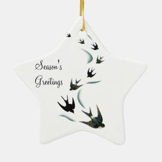 Vintage Swallow Birds Art Star Ornament