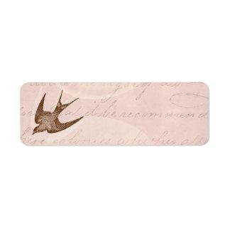 Vintage Swallow Illustration -1800's Antique Bird Return Address Label