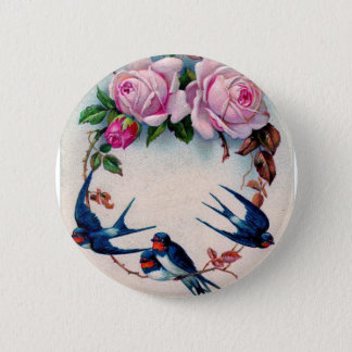 vintage swallows and roses on cyan 2 inch round button
