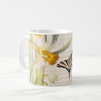 Vintage Swallowtail Butterfly Narcissus Flower Mug