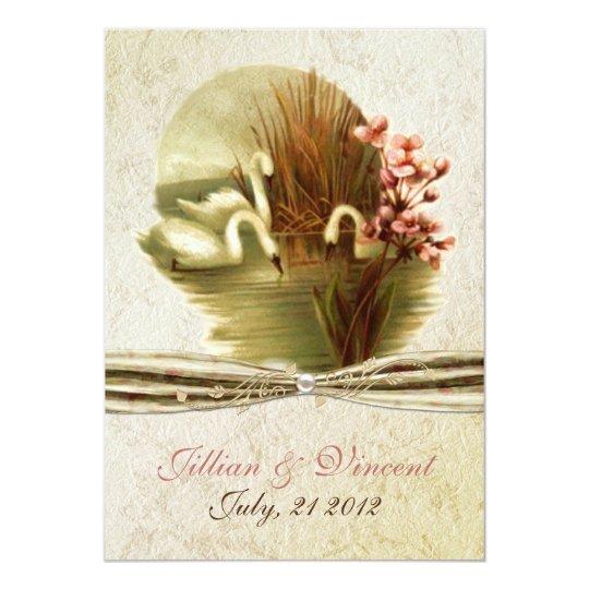 Vintage Swans Wedding Invitation