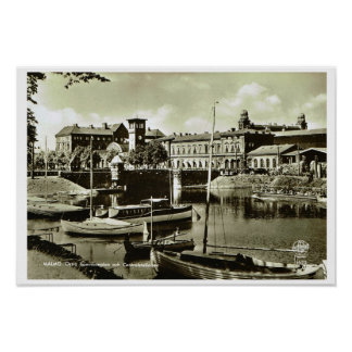 Vintage Sweden, Malmo, waterfront and boats Poster