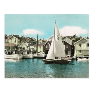 Vintage Sweden, sailing boats at a Baltic resort Postcard