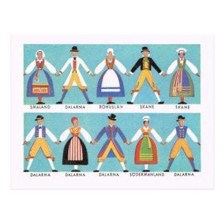 Vintage Sweden, Traditional Swedish folk costume 2 Postcard
