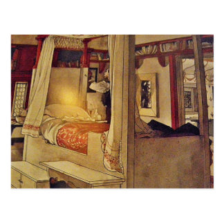 Vintage Swedish Bed and Curtains Postcard