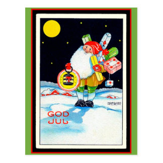 Vintage Swedish Christmas Image God Jul Gnome Postcard
