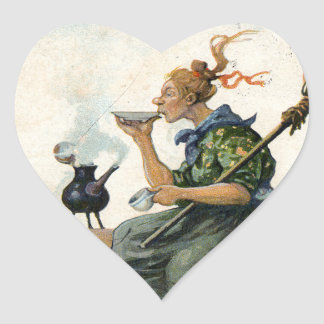 Vintage Swedish Easter painting Heart Sticker