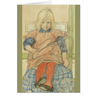 Vintage Swedish Girl on Plaid Chair Card