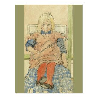 Vintage Swedish Girl on Plaid Chair Postcard