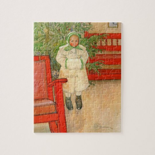 Vintage Swedish Girl with Muff Christmas Jigsaw Puzzle