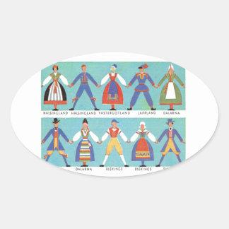 Vintage Swedish regional costumes Oval Sticker