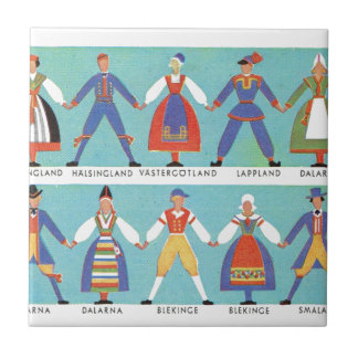 Vintage Swedish regional costumes Tile