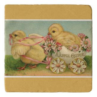 Vintage Sweet Fluffy Chicks Gold Easter Trivet