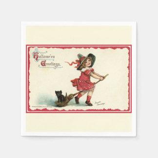 Vintage Sweet Halloween Witch Paper Napkins