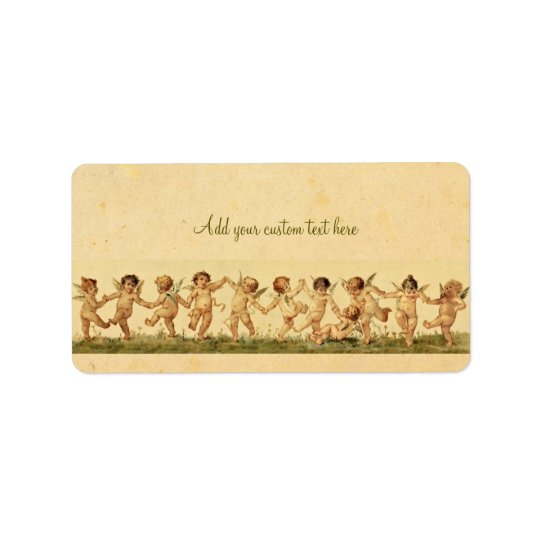 Vintage Sweet Happily Dancing Cherubs Custom Label