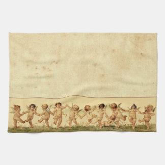 Vintage Sweet Happily Dancing Cherubs Kitchen Towel