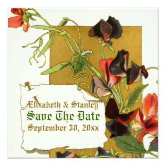Vintage sweet pea flowers wedding Save the Date Card