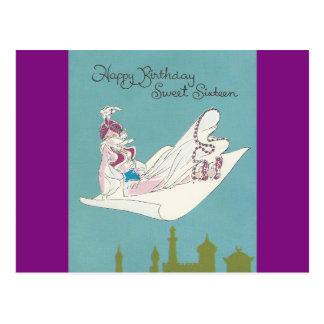Vintage Sweet Sixteen Genie Postcard