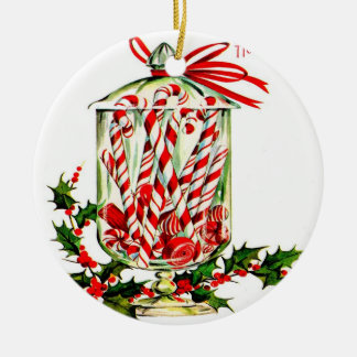 Vintage Sweet Treats - Jar of Candy Canes Round Ceramic Ornament