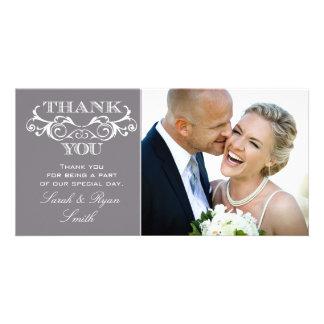 Vintage Swirl Grey Wedding Photo Thank You Cards Customized Photo Card