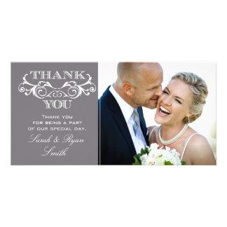 Vintage Swirl Grey Wedding Photo Thank You Cards Photo Card