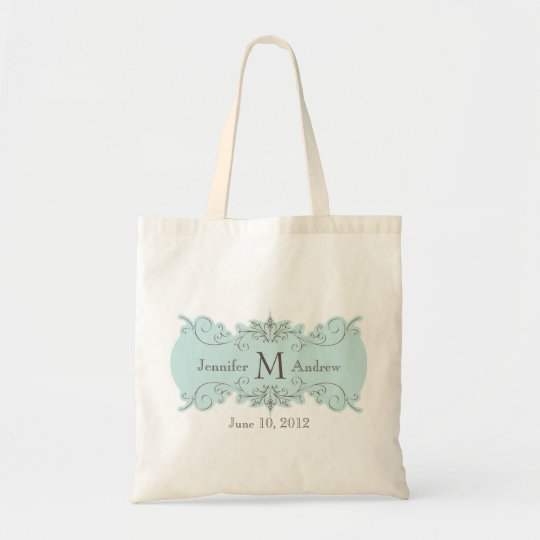 Vintage Swirl Monogram Names Date Wedding Tote Bag