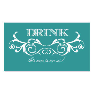 Vintage Swirl Turquoise Wedding Drink Ticket Business Card