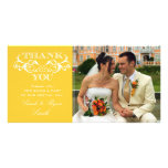 Vintage Swirl Yellow Wedding Photo Thank You Cards Personalized Photo Card