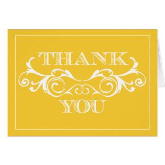 Vintage Swirl Yellow Wedding Thank You Cards