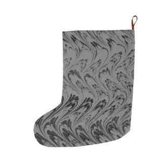 Vintage Swirls Charcoal Gray Black Waves Large Christmas Stocking