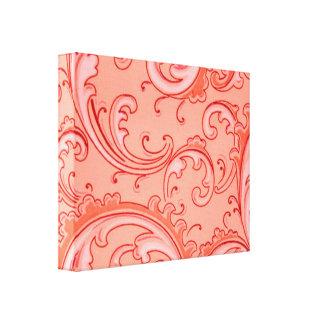 Vintage Swirls Curlicue Orange Small Canvas Print