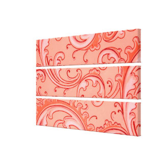 Vintage Swirls Curlicue Orange Small Canvas Prints