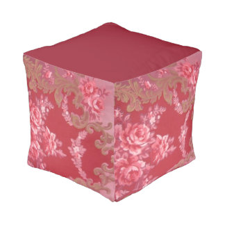 Vintage Swirls Floral Roses Cube Pouf