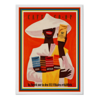 Vintage Swiss Coffee Ad Poster 12 x16