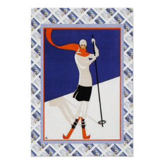 Vintage Swiss Poster Fashion on the SKi slopes