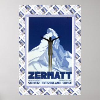 Vintage Swiss Poster Zermatt