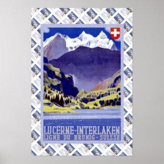 Vintage Swiss Railway Luzern Interlaken Brunig Poster