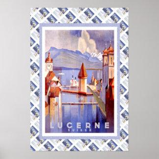 Vintage Swiss Railway Luzern Lucerne Poster