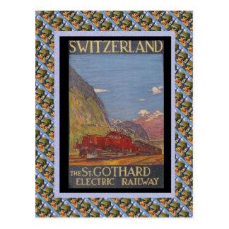 Vintage Swiss Railway St Gotthard electric Postcard
