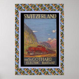 Vintage Swiss Railway Switzerland electric railway Poster